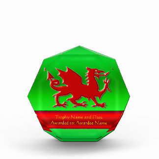 Embossed-look Red Dragon with green chrome-effect Acrylic Award