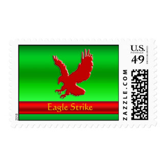 Embossed-look Red Eagle on green metallic-effect Postage