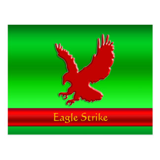 Embossed-look Red Eagle on green metallic-effect Postcard