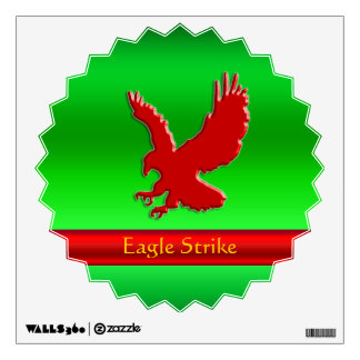 Embossed-look Red Eagle on green metallic-effect Wall Decal