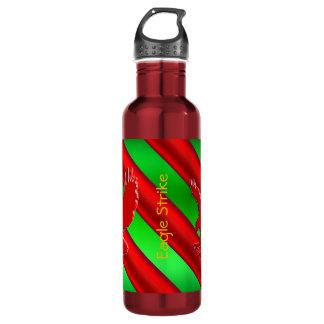 Embossed-look Red Eagle on green metallic-effect Water Bottle