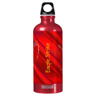 Embossed-look Red Eagle on red metallic-effect Aluminum Water Bottle