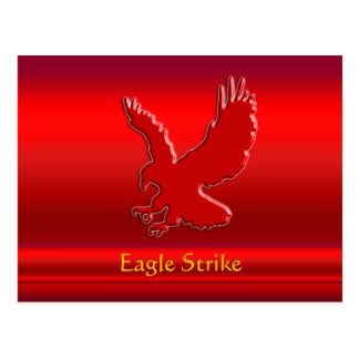 Embossed-look Red Eagle on red metallic-effect Postcard
