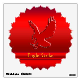 Embossed-look Red Eagle on red metallic-effect Wall Sticker