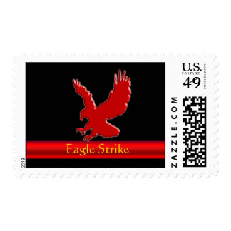 Embossed-look Red Eagle on red metallic-look strip Postage