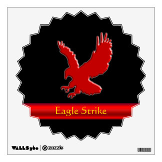 Embossed-look Red Eagle on red metallic-look strip Wall Sticker