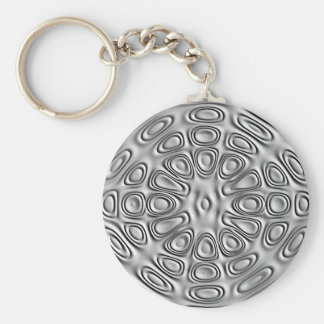 Embossed Look Silver Gray Metal Sand Flower Basic Round Button Keychain