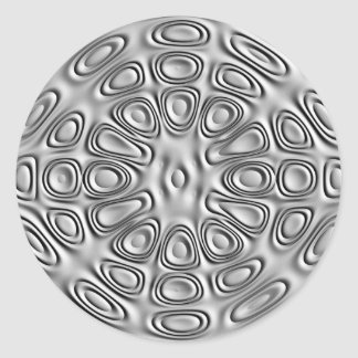 Embossed Look Silver Gray Metal Sand Flower Classic Round Sticker