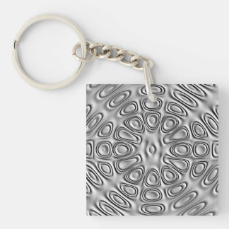 Embossed Look Silver Gray Metal Sand Flower Double-Sided Square Acrylic Keychain