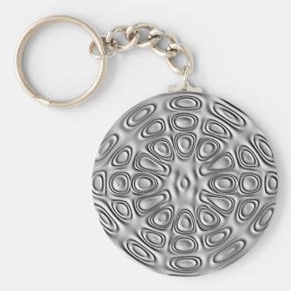 Embossed Look Silver Gray Metal Sand Flower Keychain