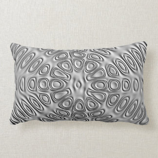 Embossed Look Silver Gray Metal Sand Flower Lumbar Pillow