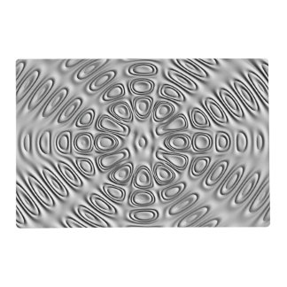 Embossed Look Silver Gray Metal Sand Flower Placemat