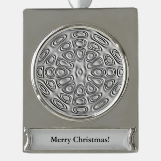 Embossed Look Silver Gray Metal Sand Flower Silver Plated Banner Ornament