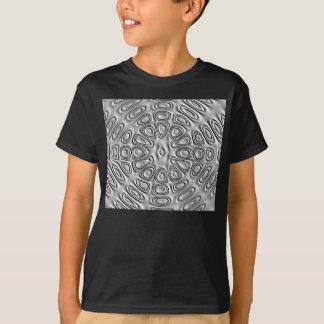 Embossed Look Silver Gray Metal Sand Flower T-Shirt