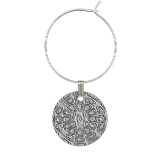 Embossed Look Silver Gray Metal Sand Flower Wine Glass Charm
