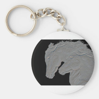 Embossed Look Silver Horses Black Background Basic Round Button Keychain