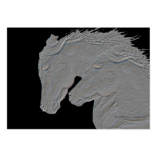 Embossed Look Silver Horses Large Business Cards (Pack Of 100)