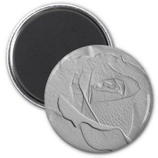 Embossed Look Silver Rose 2 Magnet