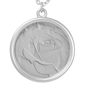 Embossed Look Silver Rose Round Pendant Necklace