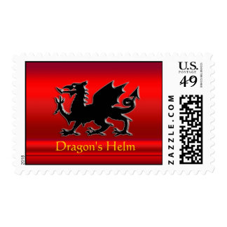 Embossed-looking Black Dragon on red chrome-effect Postage