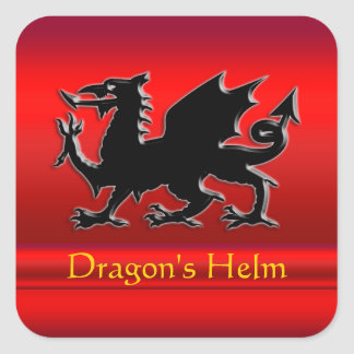 Embossed-looking Black Dragon on red chrome-effect Square Sticker
