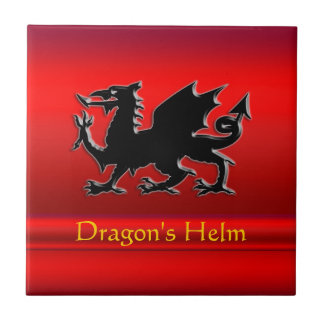 Embossed-looking Black Dragon on red chrome-effect Tile