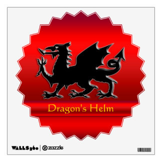 Embossed-looking Black Dragon on red chrome-effect Wall Decal