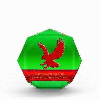 Embossed-looking Red Eagle on green metallic-look Award