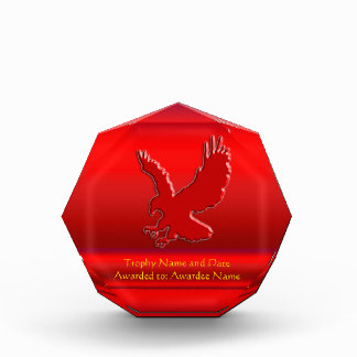 Embossed-looking Red Eagle on red metallic-effect Award