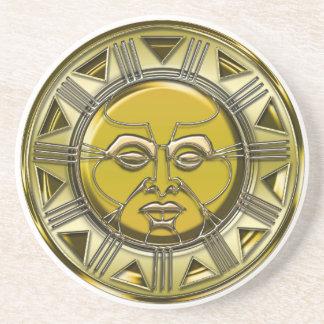 Embossed Mayan Metallic Sun Drink Coasters