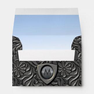 Embossed Metal Shield Monogram ID139 Envelope