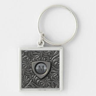 Embossed Metal Shield Monogram ID139 Keychain