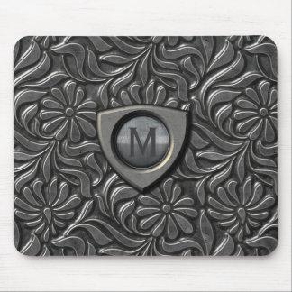 Embossed Metal Shield Monogram ID139 Mouse Pad