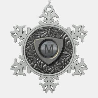 Embossed Metal Shield Monogram ID139 Snowflake Pewter Christmas Ornament