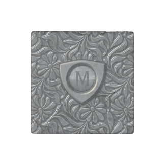 Embossed Metal Shield Monogram ID139 Stone Magnet