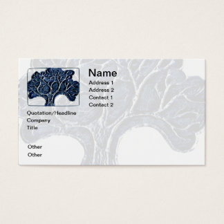 Embossed Metal Tree - Blue Business Card