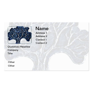 Embossed Metal Tree - Blue Business Card Template