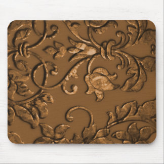 Embossed Metallic Damask, Copper Mouse Pad