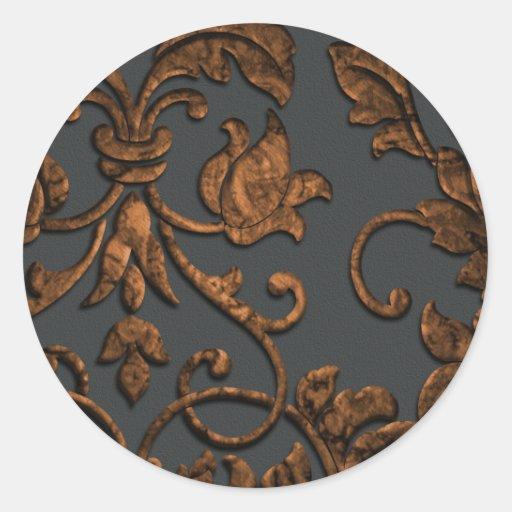 Embossed Metallic Damask, Copper Classic Round Sticker