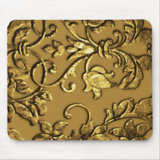 Embossed Metallic Damask, Gold Mouse Pad