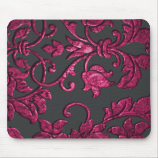Embossed Metallic Damask, Magenta Mouse Pad