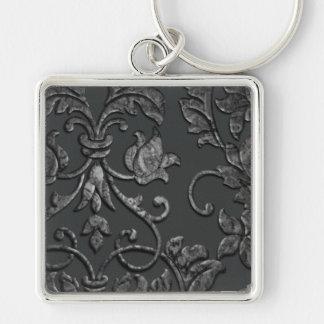 Embossed Metallic Damask, Pewter Keychain