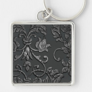 Embossed Metallic Damask, Pewter Silver-Colored Square Keychain