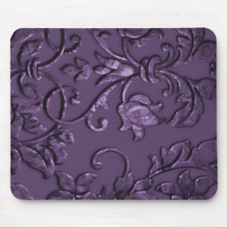 Embossed Metallic Damask, Purple Mouse Pad
