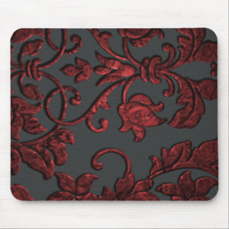 Embossed Metallic Damask, Red Mouse Pad
