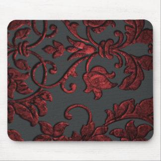 Embossed Metallic Damask, Red Mouse Pad