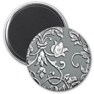 Embossed Metallic Damask Silver Magnets