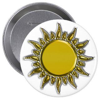 Embossed Metallic Gold Radiant Sun 4 Inch Round Button