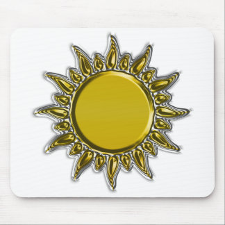 Embossed Metallic Gold Radiant Sun Mouse Pads