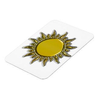 Embossed Metallic Gold Radiant Sun Rectangular Magnets